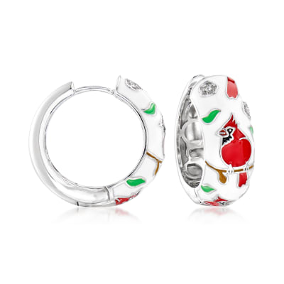 .20 ct. t.w. White Topaz and Multicolored Enamel Cardinal Hoop Earrings in Sterling Silver
