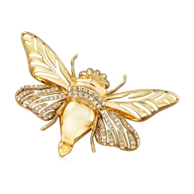 .50 ct. t.w. Diamond Bumblebee Pin in 18kt Yellow Gold Over Sterling Silver