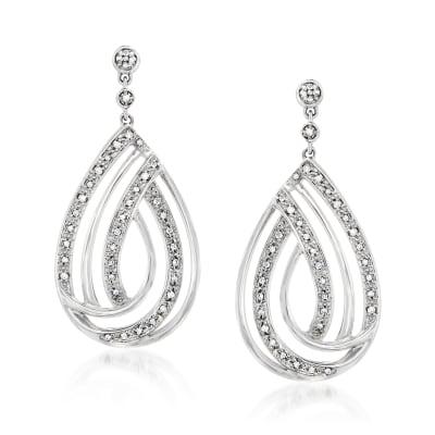 .25 ct. t.w. Diamond Open-Space Teardrop Earrings in Sterling Silver