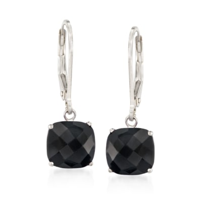 Cushion-Cut Black Onyx Drop Earrings in Sterling Silver