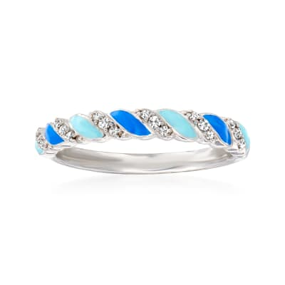 .10 ct. t.w. Diamond and Tonal Blue Enamel Twisted Ring in Sterling Silver
