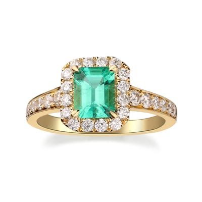 1.00 Carat Emerald Ring with .67 ct. t.w. Diamonds in 18kt Yellow Gold