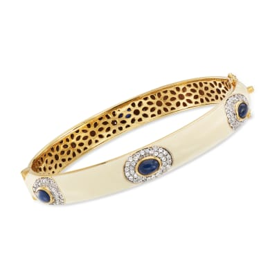 White Enamel, 3.70 ct. t.w. Sapphire and 1.60 ct. t.w. White Zircon Bangle Bracelet in 18kt Gold Over Sterling