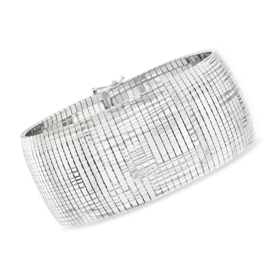 Italian Sterling Silver Diamond-Cut and Polished Omega Bracelet