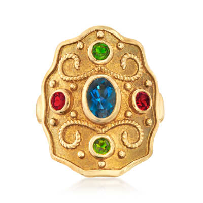 1.10 ct. t.w. Multi-Gemstone Ring in 18kt Gold Over Sterling