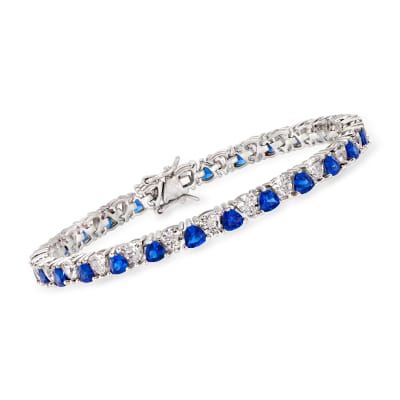 5.00 ct. t.w. Simulated Sapphire and 5.00 ct. t.w. CZ Tennis Bracelet in Sterling Silver