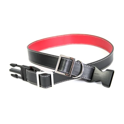 Royce Black and Red Leather Dog Collar
