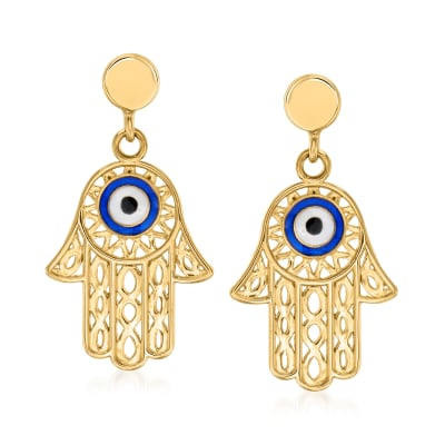 Enamel Hamsa Hand Drop Earrings in 14kt Yellow Gold