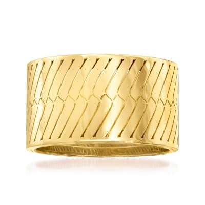 Italian 18kt Yellow Gold Herringbone Ring