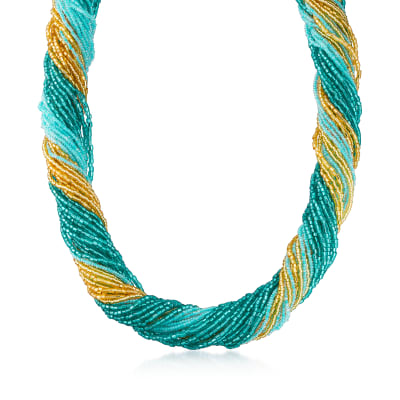 Italian Aqua and Gold Murano Glass Bead Torsade Necklace with 18kt Gold Over Sterling