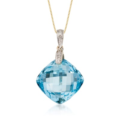 14.40 Carat Blue Topaz Pendant Necklace with Diamond Accent in 14kt Yellow Gold