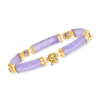 "1.20 ct. t.w. Amethyst and Lavender Jade ""Bless"" Bracelet in 18kt Gold Over Sterling"