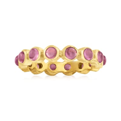 1.60 ct. t.w. Pink Tourmaline Eternity Band in 18kt Gold Over Sterling