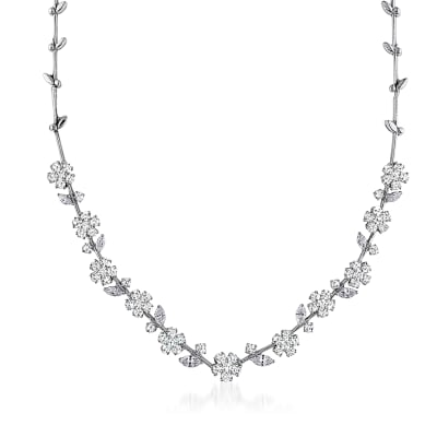 13.24 ct. t.w. Diamond Flower Vine Necklace in 18kt White Gold