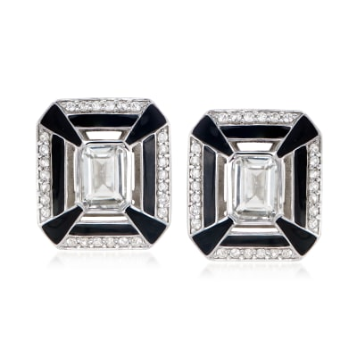 2.90 ct. t.w. White Topaz and Black Enamel Earrings in Sterling Silver