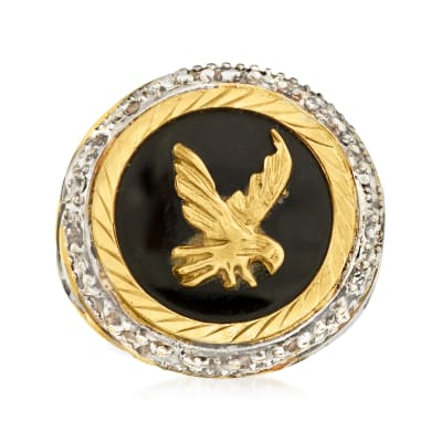 C. 1980 Vintage Black Onyx Eagle Ring in 14kt Two-Tone Gold