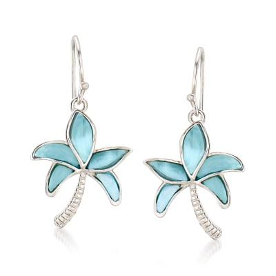 Larimar Palm Tree Drop Earrings in Sterling Silver