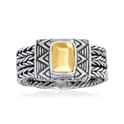 Sterling Silver and 18kt Yellow Gold Bali-Style Ring