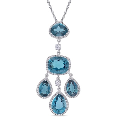 17.25 ct. t.w. London Blue Topaz and .17 ct. t.w. Diamond Drop Pendant Necklace in 18kt White Gold