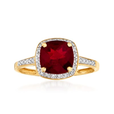 2.25 Carat Garnet and .10 ct. t.w. Diamond Ring in 14kt Yellow Gold