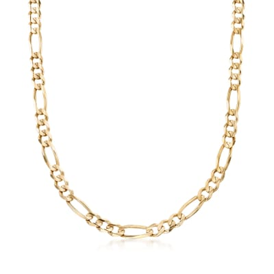 Men's 7mm 14kt Yellow Gold Figaro-Link Chain Necklace