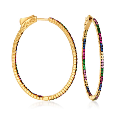 .90 ct. t.w. Multicolored Sapphire, .40 ct. t.w. Tsavorite and .30 ct. t.w. Ruby Inside-Outside Hoop Earrings in 14kt Yellow Gold