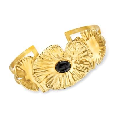 Italian Black Onyx Cuff Bracelet in 18kt Gold Over Sterling