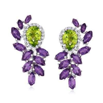 8.29 ct. t.w. Multi-Gemstone Drop Earrings in Sterling Silver