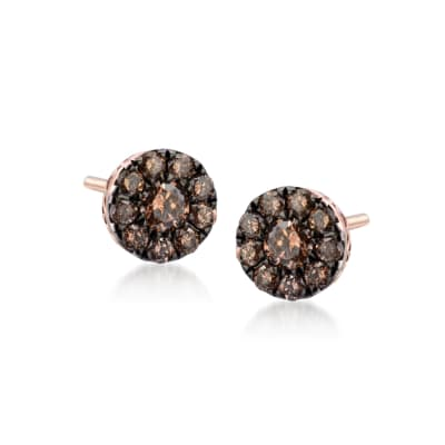 .22 ct. t.w. Champagne Diamond Stud Earrings in 14kt Rose Gold