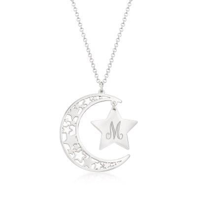 Sterling Silver Openwork Moon and Star Single-Initial Pendant Necklace