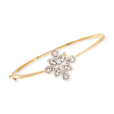 .65 ct. t.w. Diamond Floral Bangle Bracelet in 18kt Gold Over Sterling