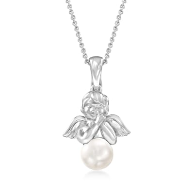 8-8.5mm Cultured Pearl Angel Pendant Necklace in Sterling Silver
