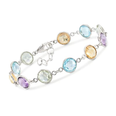 18.40 ct. t.w. Bezel-Set Multi-Stone Bracelet in Sterling Silver