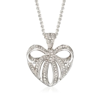 .25 ct. t.w. Diamond Heart Bow Pendant Necklace in Sterling Silver
