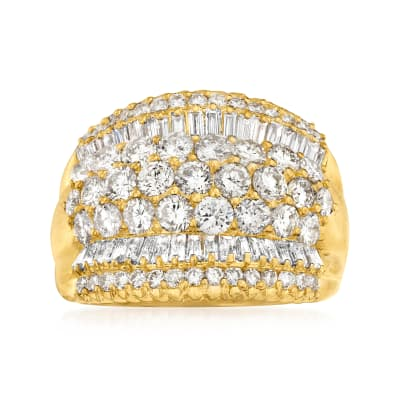 C. 2000 Vintage 3.06 ct. t.w. Baguette and Round Diamond Multi-Row Ring in 18kt Yellow Gold