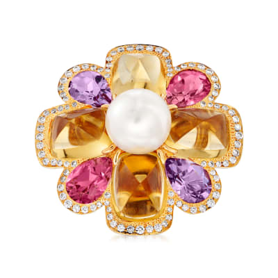 C. 1980 Vintage Chanel Cultured Pearl and 11.20 ct. t.w. Multi-Gemstone Flower Ring with .40 ct. t.w. Diamonds in 18kt Yellow Gold