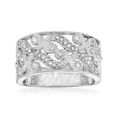 .50 ct. t.w. Diamond Openwork Swirl Ring in Sterling Silver