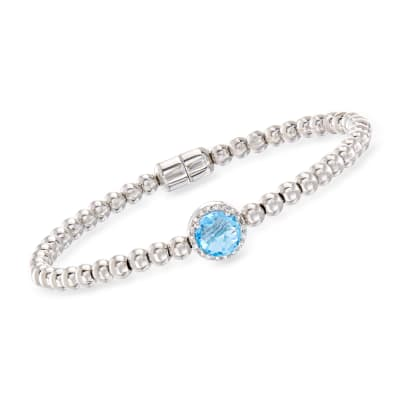 1.60 Carat Swiss Blue Topaz Beaded Bracelet in Sterling Silver with Magnetic Clasp
