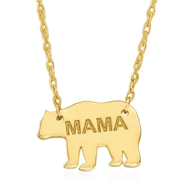 "14kt Yellow Gold ""Mama"" Bear Pendant Necklace"