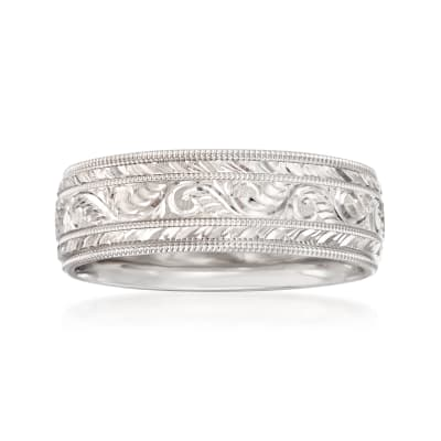 Men's 7mm 14kt White Gold Hand-Engraved Wedding Band