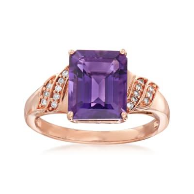 3.40 Carat Amethyst Ring in 18kt Rose Gold