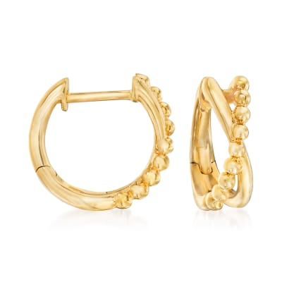 Gabriel Designs 14kt Yellow Gold Crisscross Huggie Hoop Earrings
