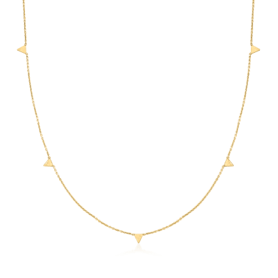 Italian 14kt Yellow Gold Triangle Station Necklace