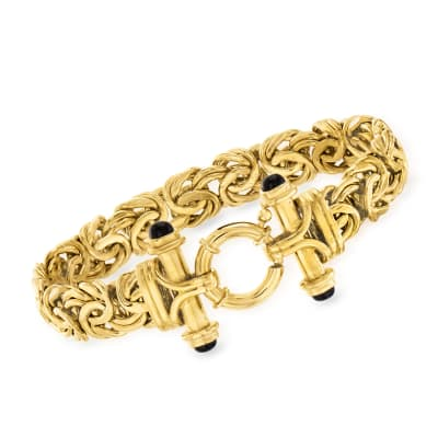 14kt Yellow Gold Byzantine Bracelet with Black Onyx