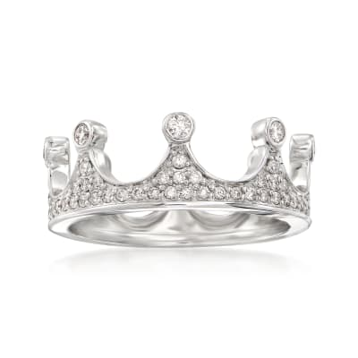 .69 ct. t.w. Diamond Crown Ring in 14kt White Gold