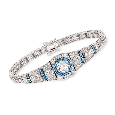 4.00 ct. t.w. CZ and .98 ct. t.w. Simulated Sapphire Bracelet in Sterling Silver
