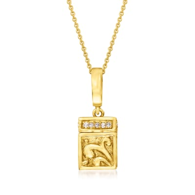 C. 1990 Vintage .18 ct. t.w. Diamond Box Pendant Necklace in 14kt Yellow Gold