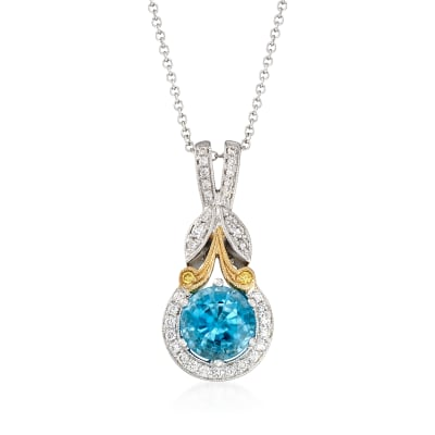 1.90 Carat Blue Zircon and .16 ct. t.w. Diamond Pendant Necklace in 18kt Two-Tone Gold