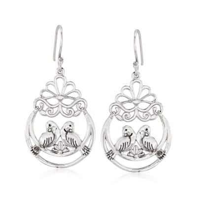 Sterling Silver Lovebirds Drop Earrings