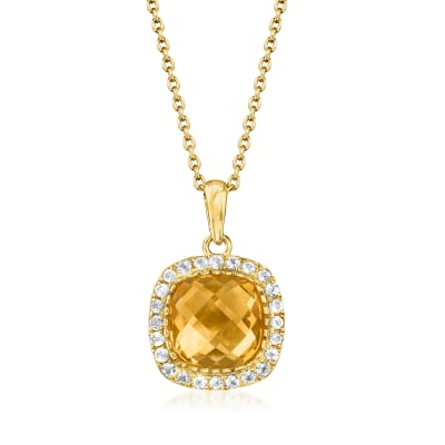 6.25 Carat Citrine and .90 ct. t.w. White Topaz Pendant Necklace in 18kt Gold Over Sterling